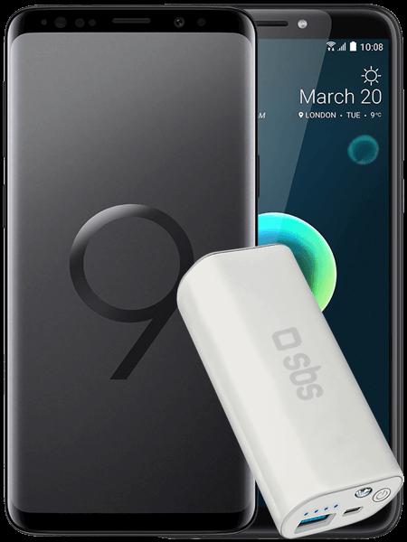 Samsung Galaxy S9 + HTC Desire 12+ z powerbankiem