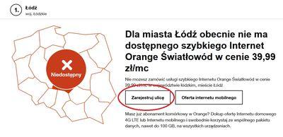 informacja o braku Orange Światłowodu dla miejscowości
